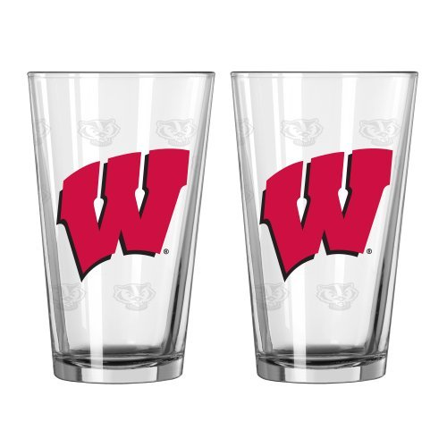 NCAA Wisconsin - 'Satin Etched' Pint Glasses (2) | Wisconsin Badgers 16 oz. Beer Pints - Set of 2