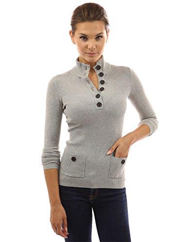 PattyBoutik Women V Neck Button Ribbed Sweater (Light Heather Gray Large)