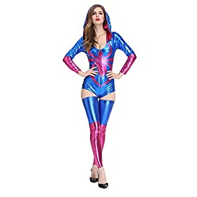 - 41mB9eVu6GL - WELVT Womens Spider-Girl Deluxe Spider Catsuit Adult Costume with Spider Print