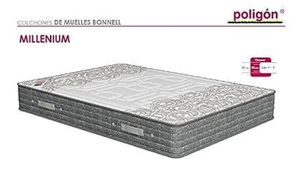 Poligón - Colchón milenium visco - muelles bonell, talla 90x190cm, color blanco / gris: Amazon.es: Hogar