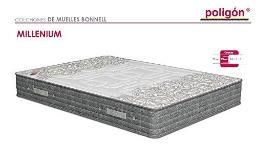 Poligón - Colchón milenium visco - muelles bonell, talla 135x190cm, color blanco / gris: Amazon.es: Hogar