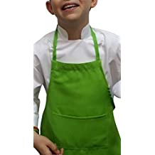 Lime Green Apron+ White Hat Baby Toddler Kid Children Chef Set Lite Fabric by CHEFSKIN