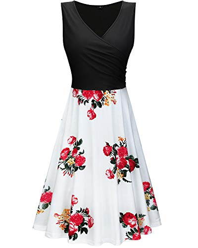 KILIG Women's V Neck Sleeveless Patchwork Floral Print Summer Casual Elegant Midi Dress(Floral-13, S)