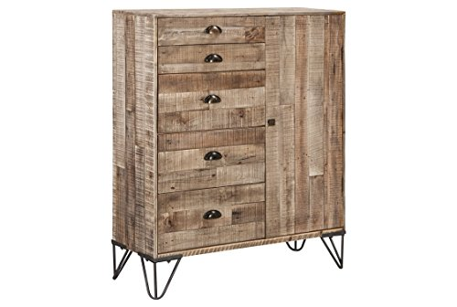 Media Black Antique Cabinet (Ashley Furniture Signature Design - Camp Ridge 5-Drawers/1-Cabinet Accent Cabinet - Plank Style in Gray Wash Finish - Black Metal Legs)