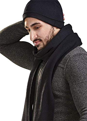 Charlie Paige Two (2) Piece Black Winter Set including Men's Scarf and Stocking Hat by Charlie Paige