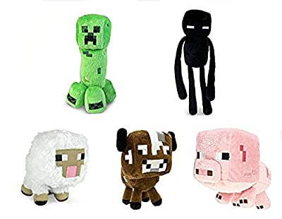 "Official Minecraft Overworld 7"" Plush SET of 6: Squid, Creeper, Enderman, Baby Pig, Cow, & Sheep from Minecraft Toys"