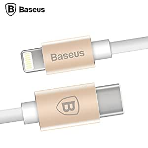 Type C to Lightning Cable,Baseus USB C 3.1 Male to Lightning (1M/3FT) Sync & Data Charging Cord Wire Line for iPhone 5s/ 6 6s plus/7 7 Plus / iPad / New MacBook / Chromebook Pixel / HP Pavilion,Gold