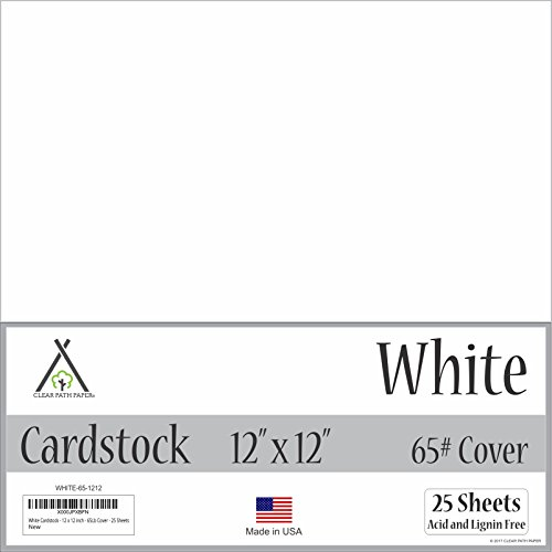 White Cardstock - 12 x 12 inch - 65Lb Cover - 25 Sheets by Clear Path Paper