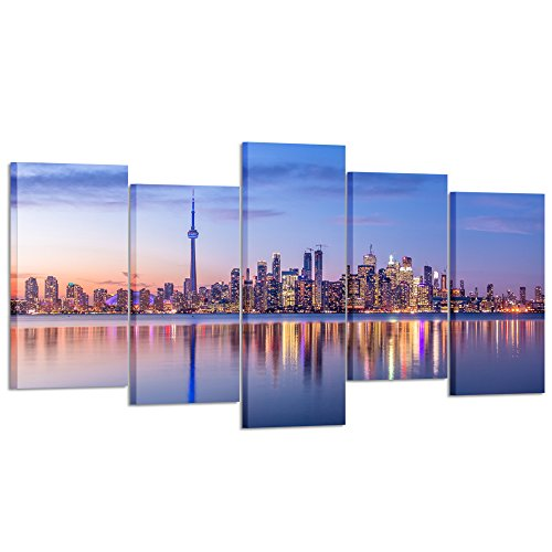 - Kreative Arts - 5 Piece Canvas Wall Art Toronto Skyline with Purple Light City Skyline Panorama at Night Modern Home Decor Stretched and Framed Ready to Hang for Living Room (Large Size 60x32inch)