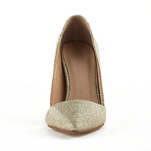 Evening TDA Leather Dress Classic Sparkle Womens Bridal High TH12113 Wedding Gold Heel Pumps Stiletto Parting TqFUq0HwA