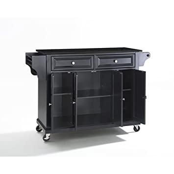 Crosley Furniture Rolling Kitchen Island With Solid Black Granite Top    Black