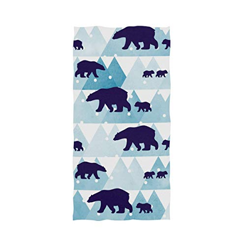 Naanle Cute Winter Polar Bear Mountains Pattern Soft Highly Absorbent Large Decorative Hand Towels Multipurpose for Bathroom, Hotel, Gym and Spa (16 x 30 Inches) ()