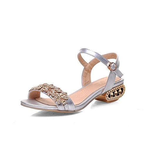Material Sandals Diamond Silver Womens B 1TO9 Toe M US Glass 4 Open Soft Wa8CCqw0n
