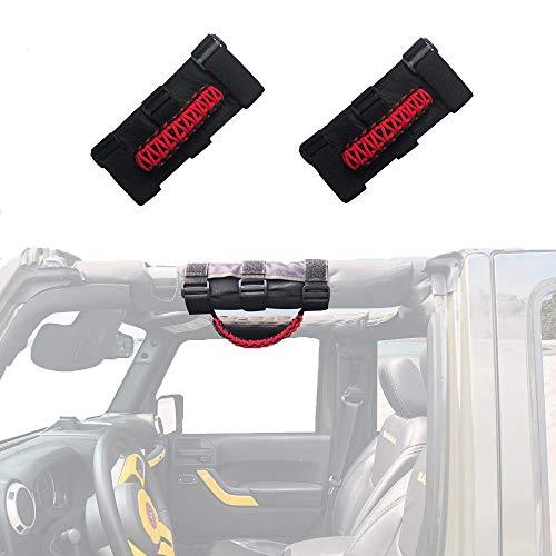 (Micephon Jeep Wrangler Grab Handles Grip Handles for Jeep Wrangler YJ CJ TJ JK JKU JL JLU Sahara Rubicon Unlimited Roll Bars, 2 Pack)