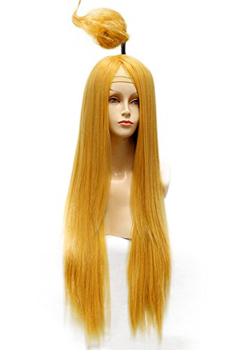 [SmartFactory Long Straight Yellow Synthetic Human Hair Synthetic Fiber Wig With Little Wraps for Europe] (Custom Inflatable Costumes)
