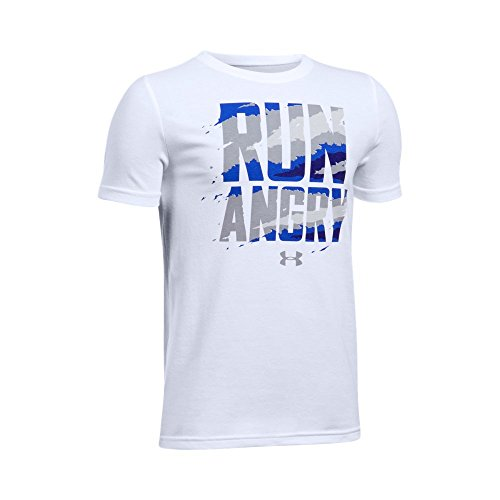 Under Armour Boys' Run Angry T-Shirt,White/Aluminum, Youth Small (Armour Under Football T-shirt)