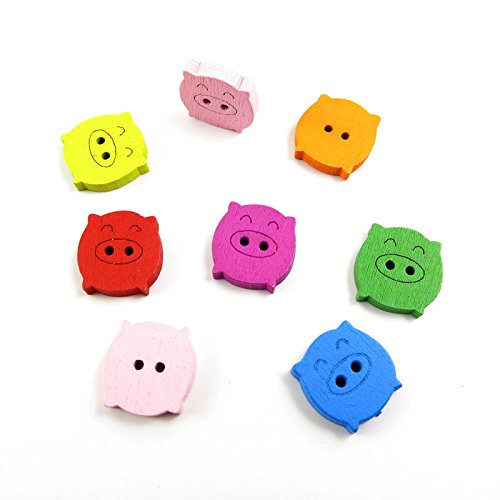 30 Pieces Sewing Clothing Buttons Sew On Wooden Wood Knopfe BB2365 Mixed Fat Pig Colorful Plush Lovely Accessory Decoration Handmade Cute Scrapbook Flatback DIY