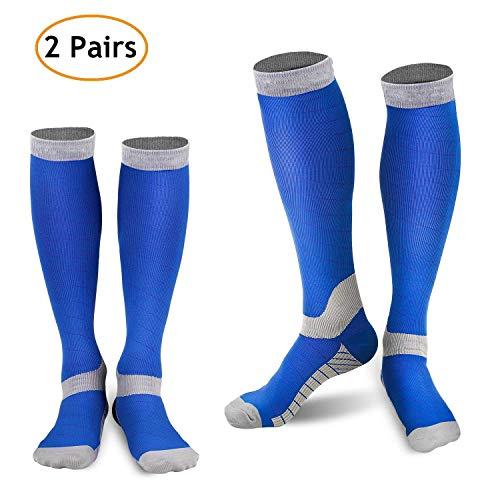 refun Compression Socks Women & Men (2 Pairs), Graduated Compression Sock 20-30 mmHg Running, Athletic Sports, Flight Travel, Nurses (Blue & Grey L/XL (Women 8-15.5 / Men 8-14))