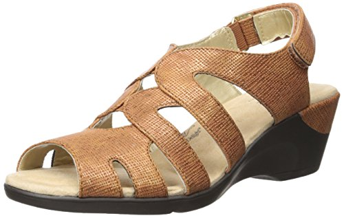 Soft Style by Hush Puppies Women's Patsie Wedge Sandal, Tan cambric, 7 W US