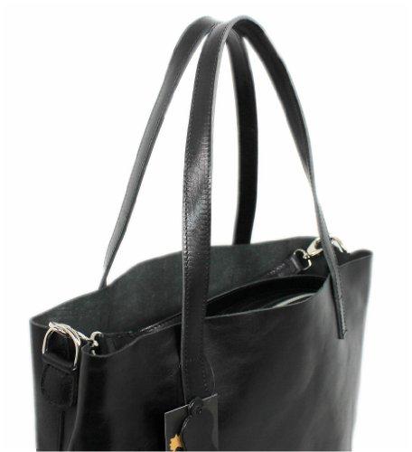 Donna Italy Leatherworld Borsa Groß Tote Nero 6PTnYHWqY