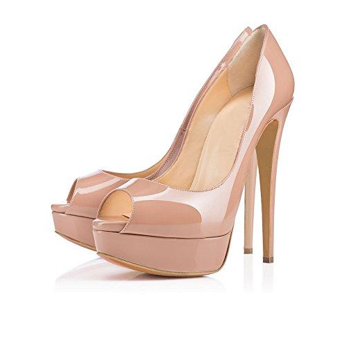 Kolnoo - Zapatos con tacón Mujer Beige