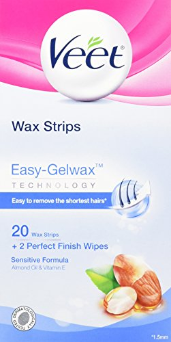 Veet Ready to Use Wax Strips, Sensitive Skin Formula, 20-Count Boxes (Pack of 2)