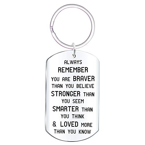 Faith Keychain - Elegant Chef Always Remember You are Braver Than You Think Inspirational Keychain