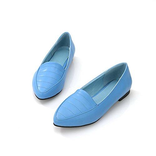 Amoonyfashion Femmes Fermé Bout Pointu Pu Matériau Souple Solides Appartements Bleu