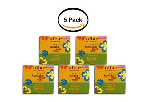 PACK OF 5 - Alba Botanica Natural Hawaiian Facial Mask Papaya Enzyme, 3.0 OZ