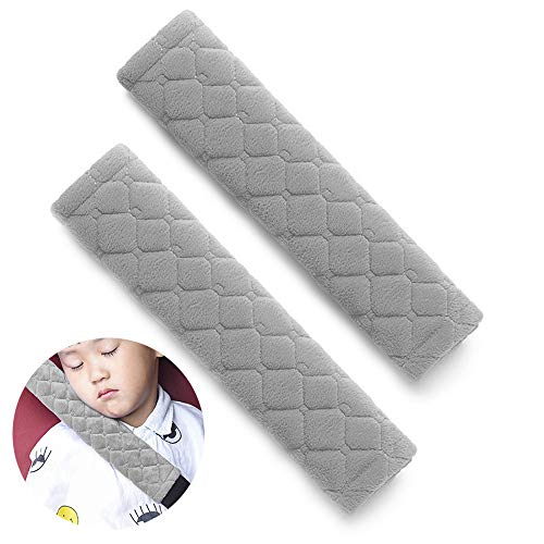 surpassme Car Seat Belt Pads Cover, 2 Pack Seat Belt Shoulder Strap Covers Protector to Release Stress to Your Neck and Shoulder for a Safety Driving (Grey) ()