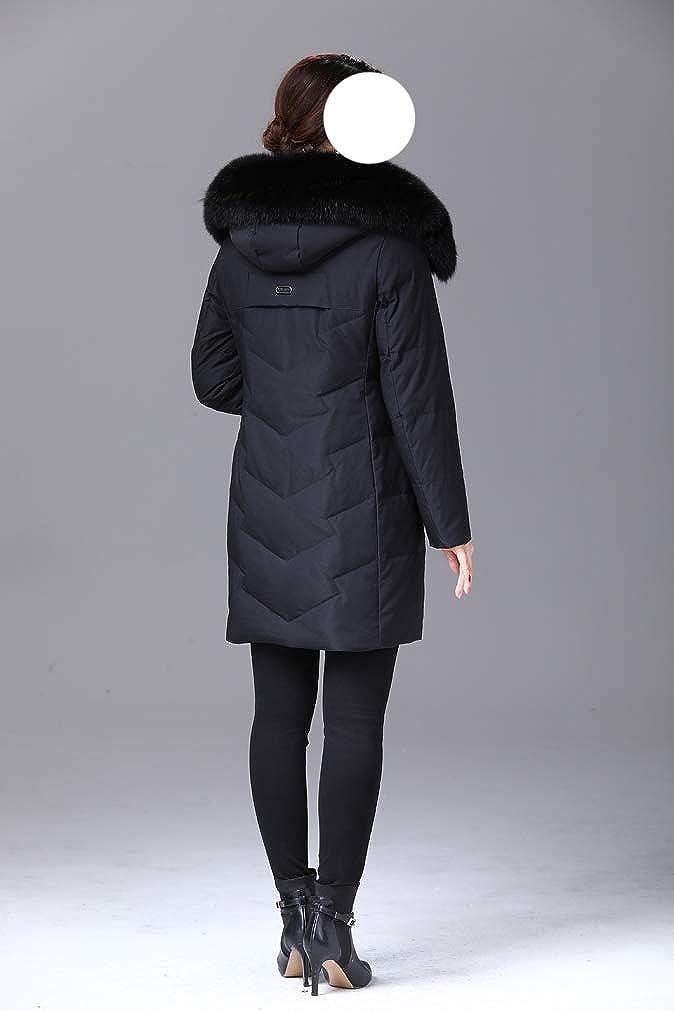 HiiWorld Winter Women Duck Down Jacket Parka Long Ultralight Feather Real Fox Fur Luxury Duck Down Coat Black