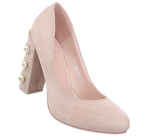 Schuhcity24 Damen Schuhe Pumps High Heels Beige