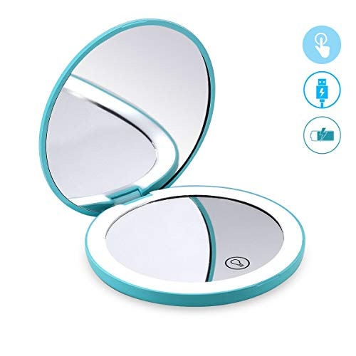 Glam Hobby LED Lighted Travel Makeup Mirror, 1x/7x Magnification - Daylight LED, Touch button, Dimmable, Compact, Portable, USB Chargeable battery operarted, Large 4 1/2 Wide Folding Mirror (Blue)