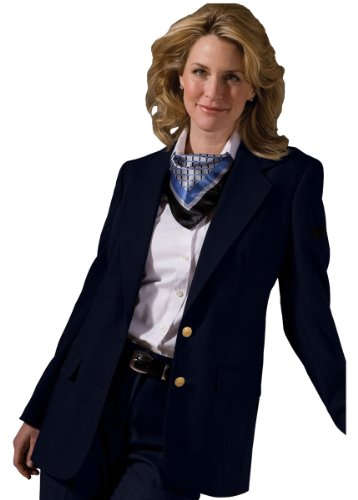 Edwards Garment Women's Classic Two Button Single Breasted Blazer, Navy, 4 R (Single Breasted Suit Worsted Wool)
