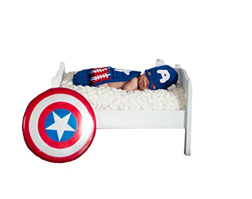Captain America Costume Flag (CX-Queen Baby Photography Prop Crochet Knit Captain America Beanie Hat Cape)