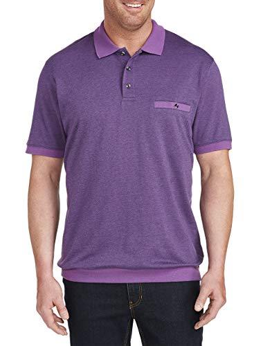 Harbor Bay by DXL Big and Tall Jacquard Banded Bottom Polo Shirt Purple