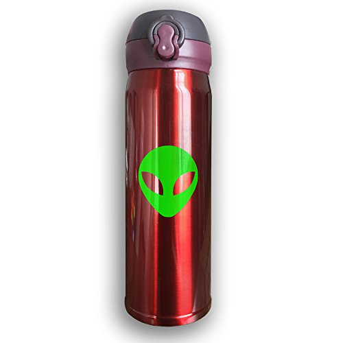 Cup Flip Costumes Team (Unique Green Alien Head UFO Cartoon ET Thermos Drinkware Tumbler Water Bottle With Sport Cap For Outdoor And Sport Activities, 16-Ounce,)