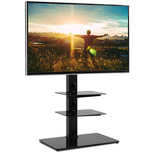 Rfiver Black Floor TV Stand with Universal Swivel Bracket Mount for 32 to 65 inch Flat Curved Screen TV, Adjustable Height and Three Tempered Glass Shelves TF2002