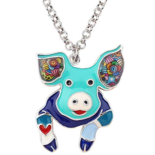 Floral Pig (NEWEI Alloy Enamel Cute Floral Pig Piggy Pendant Necklace Choker Chain Collar Fashion Animal Jewelry for Women Girls Gift Teens (Blue))