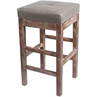 Valencia Backless Bonded Leather Counter Stool 27,Distressed Brown Legs,Vintage Gray