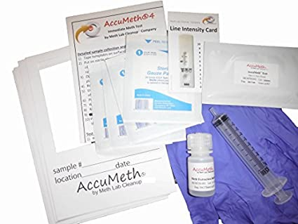 AccuMeth4-part Composite Instant Meth Residue Test for Homes - Sample 4  Areas, Get 1 Result (0 1 ug/100cm2 Legal Standard)