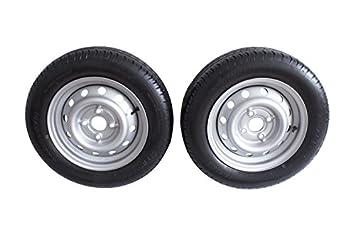Bundle - Juego 2 ruedas Uni Trailer 155/70 R13 4jx13 75 N LK 4 x 100 para automóviles de colgante: Amazon.es: Coche y moto