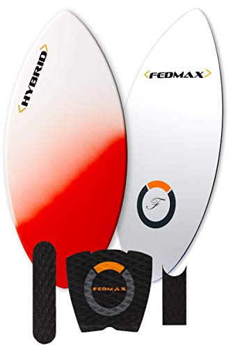 Fiberglass Skimboard | Red, 44 in. (Riders 50lbs. to 130lbs.) | Includes Traction | Tips and Tricks Guide | Great Skim Board for Kids/Adults