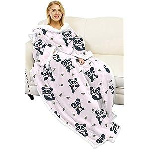 Couverture en sherpa portable, super douce, confortable et chaude – avec manches, couverture pour canapé – pour adulte…