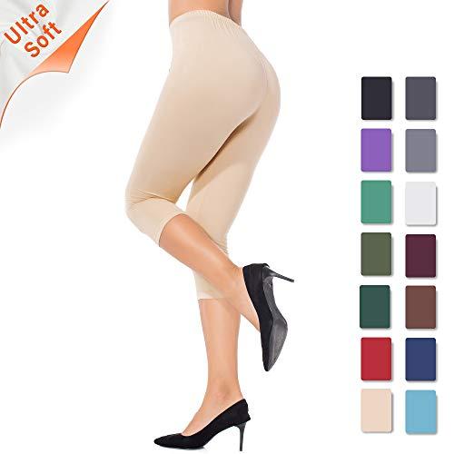 ZEALOTPOWER Capri Leggings for Women Plus Size Ultra Soft High Waist Stretchable Khaki
