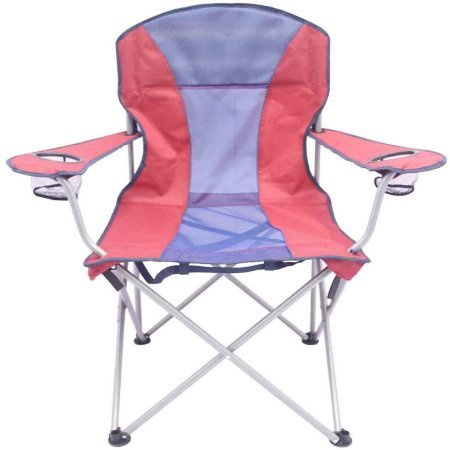 Ozark Trail Oversize Folding Mesh Chair in Red and Blue Combination, Sturdy Polyester, Easy Storage, With 2 Cup Holders, Outdoor, Camping, Picnic