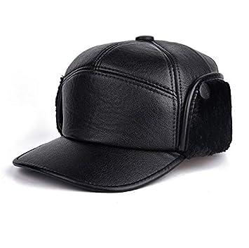 b6bf6b0d6d5f5 Amazon.com  Dunnomart Leather Winter Fur Hats Windproof Thick Warm ...