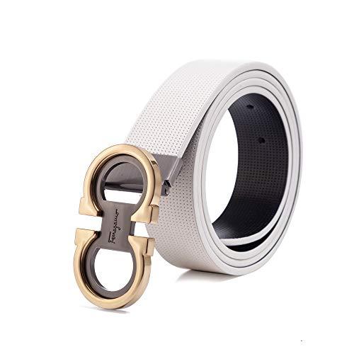 Men's Fashion Dress Adjustable Belt Comfort Reversible Leather Shiny Buckle (White/Gold, Waist 26