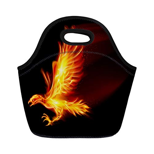 (Semtomn Neoprene Lunch Tote Bag Red Fire Raster Flaming Hawk on Fenix Wing Bird Reusable Cooler Bags Insulated Thermal Picnic Handbag for Travel,School,Outdoors,Work )
