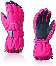 Kids Winter Glove Boys Girls Snow Ski Waterproof Gloves for Teens Fleece Lining Warm Mittens Outdoor (Rose, 7-
